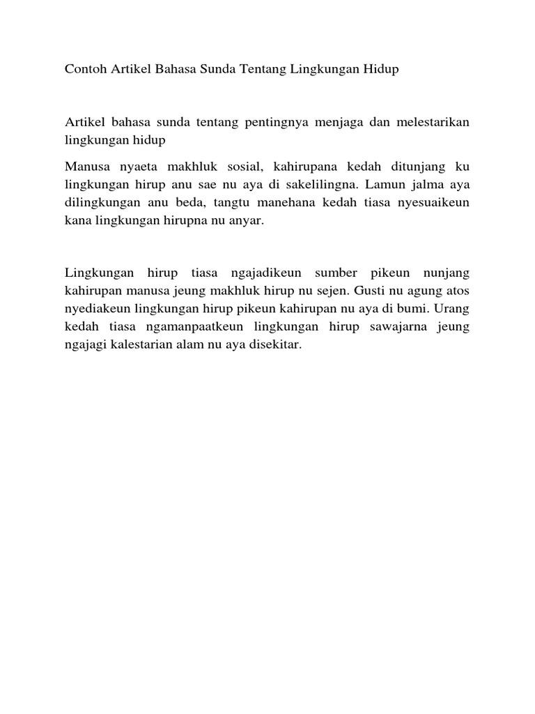 Contoh Artikel Contoh Artikel Bahasa Sunda