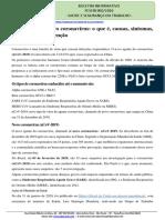 INFORMATIVO LABORATIVA CORONAVIRUS - FONTE MINISTERIO DA SAUDE