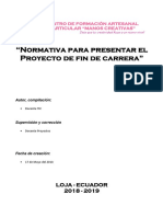 NORMATIVAS PARA PROYECTO DE FIN DE CARRERA 18-19