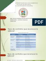 Tipos de contratos que reconoce la SERCOP