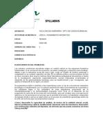 SYLLABUS DE LOGICA Y PENSAMIENTO MATEMATICO