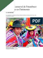 La danza carnaval de Patambuco