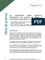 03/11/10 Comunicado Oficial de AENA respecto a la paralización de los aeropuertos