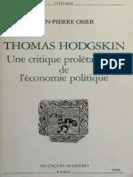 J-P OSIER - HODGSKIN UNE CRITIQUE PROLETARIENNE DE L'ECONOMIE POLITIQUE - 1976