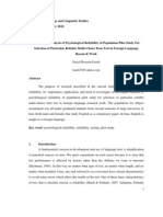 The Impact Analysis of Psychological Reliability of Population Pilot Study for Selection of Particular Reliable Multi-choice Item Test in Foreign Language Research Work