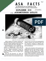 NASA Facts Explorer XVI the Micro Meteoroid Satellite
