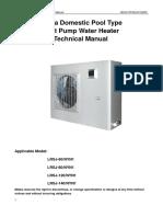 Swimming pool type Heat Pump Water Heater Technical Manual