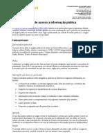 Pontos principais do projeto de lei de acesso a informação