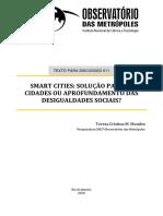 Smart Cities - Solução para as cidades ou aprofundamento das desigualdades sociais. (Texto para Discussão)-2020