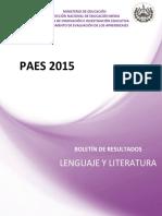 Boletín PAES 2015 LENGUAJE Y LITERATURA