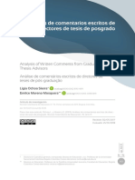 Analisis de comentarios escritos de directores de tesis de posgrado.
