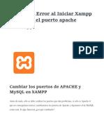 Solución Error de Puertos en XAMPP