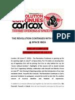 Carl Cox Pr the Revolution Continues - LINE UP CONFIRMED 20100603 FOEM