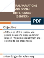 1. Cultural Variations and Social Differences (Gender)