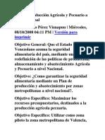 Plan de Producción Agrícola y Pecuario a nivel Nacional
