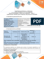 Guía de actividades y rúbrica de evaluación  Fase 2 - Implementar métodos para evaluación del proyecto sostenible