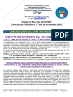 Comunicato Ufficiale n. 37 del 28 novembre 2019
