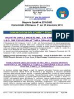 Comunicato Ufficiale n. 41 del 05 dicembre 2019