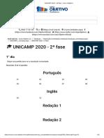UNICAMP 2020 - 2ª fase - Curso Objetivo_Q2