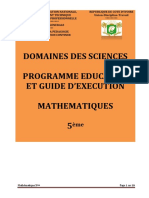 Programme éducatif maths 5è 2020
