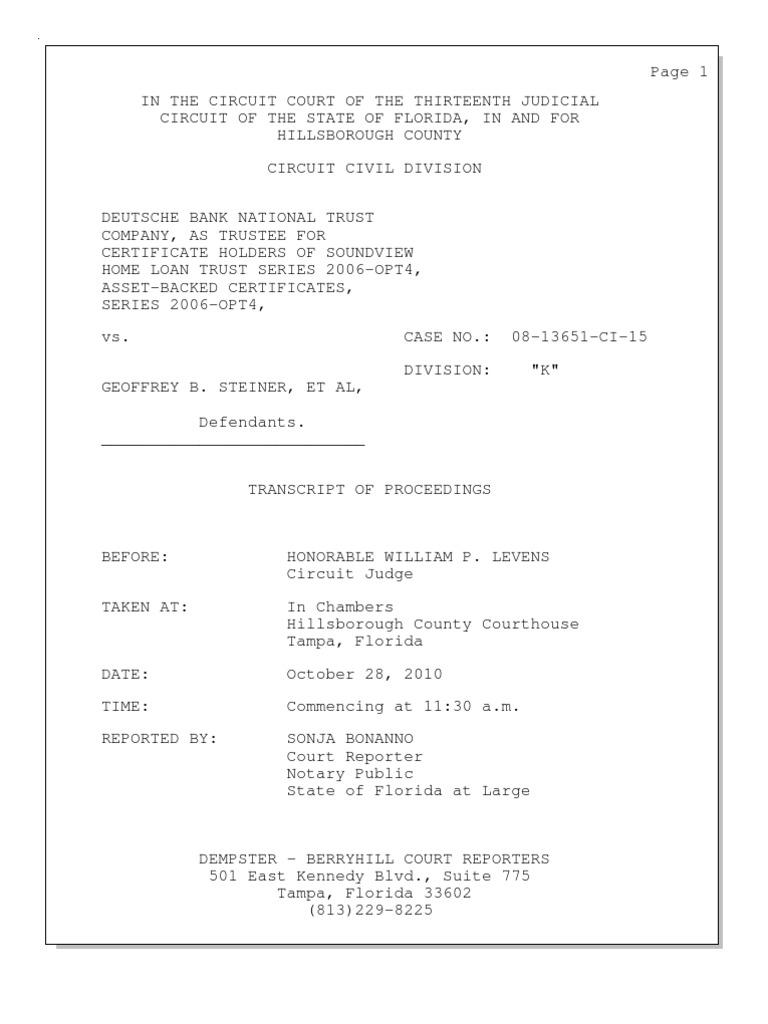 Capacity Transcript Florida Pleading Lawsuit