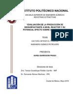 Evaluación de la producción de biosurfactante a nivel reactor y su potencial efecto sobre aceite pesado