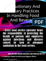 Precautionary and sanitary practices in handling food and