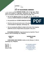 sample affidavit of adjoining lot owners