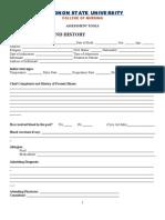 BSU College of Nursing Assessment Form