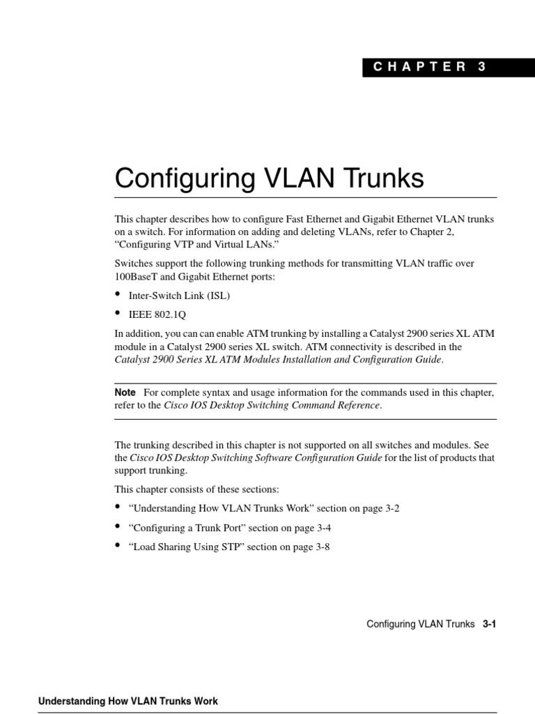 Configuring Vlan Trunks  Catalyst 2900 Series Xl Atm