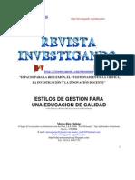 ESTILOS DE GESTION PARA UNA EDUCACION DE CALIDAD