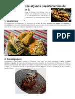 Comidas típicas de algunos departamentos de Guatemala
