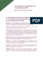 Disposiciones transitorias con reformas a la Constitución de 1983