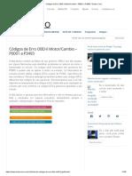 Códigos de Erro OBD-II Motor e Cambio – P0001 a P3493