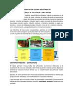 CLASIFICACIÓN DE LAS INDUSTRIAS KEVIN