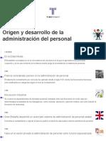 Origen y Desarrollo de la Administración del personal