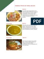 Comidas y Bebidas típicas de Tarija