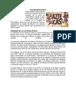 CIVILIZACIÓN AZTECA MAYA INCA OLMECA Y TOLTECA