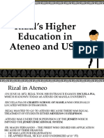 Rizal's Higher Education in Ateneo and UST