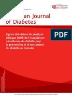 Lignes directrices de pratique clinique 2008 de l'Association canadienne du diabète pour la prévention et le traitement du diabète au Canada
