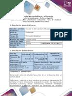 Guía de actividades y rúbrica de evaluación - Tarea 2 - Analizar técnicas frente a la lectura crítica