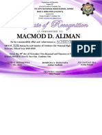 (ACHIEVERS)HONORS CONVOCATION CERTIFICATE