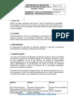 BU-P19 PROCEDIMIENTO  PARA LOS PROGRAMAS DE PROMOCION Y PREVENCION EN SALUD