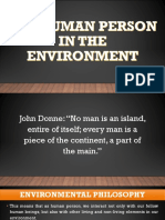 THE HUMAN PERSON IN THE ENVIRONMENT