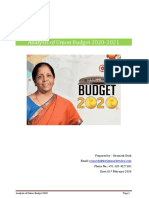 Analysis of budget 2020-21