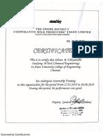 Aavin Internship Certificate