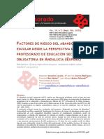 Factores de Riesgo Del Abandono Escolar Desde La Perspectiva Del Profesorado de Educación Secundaria Obligatoria en Andalucía (España)