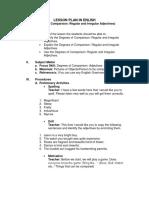 Lesson Plan in Enlish Degrees of Compari