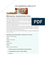 Mini Pizzas Rapidísimas, Listas en 5'