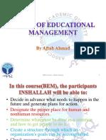 Session # 9, Basics of Education Management By Aftab Ahmad